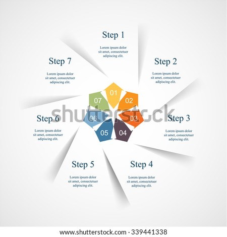 Vector infographic. Template for diagram, graph, presentation and chart. Business concept with 7 options, parts, steps or processes.  - stock vector