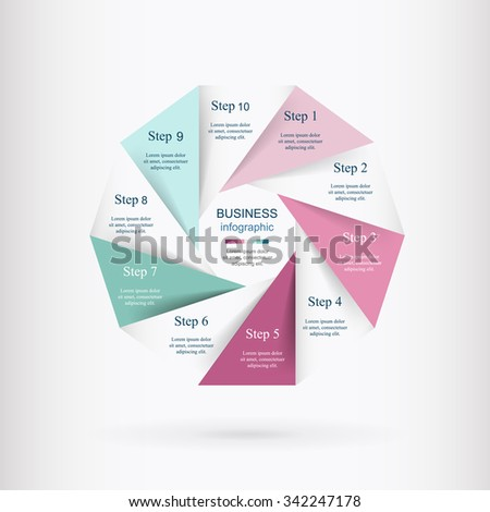 Vector infographic. Template for diagram, graph, presentation and chart. Business concept with 10 options, parts, steps or processes.  - stock vector