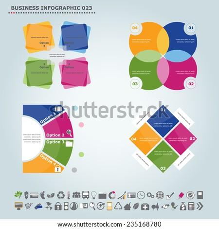 Vector infographic template : Infographic, infochart , diagram & flowchart design for presentation & business (Part 23) - stock vector