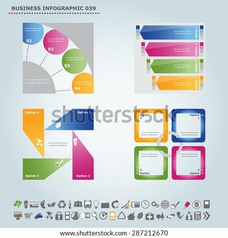 Vector infographic template : Infographic, infochart , diagram & flowchart design for presentation & business (Part 39) - stock vector