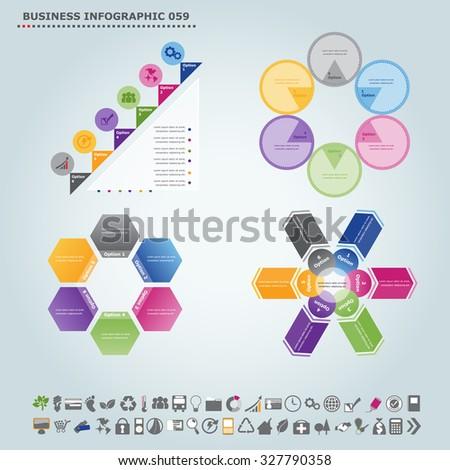 Vector infographic template (regular pentagon): Infographic, infochart , diagram & flowchart design for presentation & business (Part 59) - stock vector