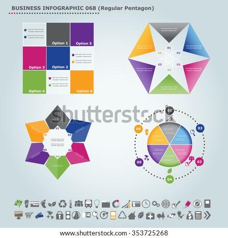 Vector infographic template (regular pentagon): Infographic, infochart , diagram & flowchart design for presentation & business (Part 68) - stock vector
