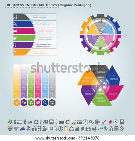 Vector infographic template (regular pentagon): Infographic, infochart , diagram & flowchart design for presentation & business (Part 75) - stock vector