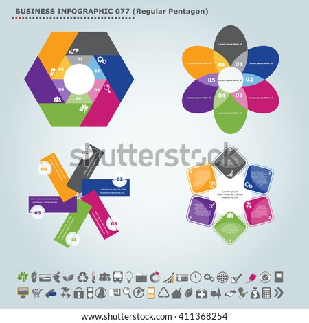 Vector infographic template (regular pentagon): Infographic, infochart , diagram & flowchart design for presentation & business (Part 77) - stock vector