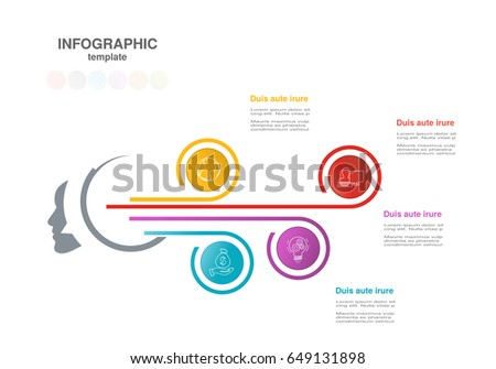 Vector infographic template with circles. Concept with options. For workflow layout, timeline infographics, diagram, flowchart, processes, business step options, banner, web design, presentation.