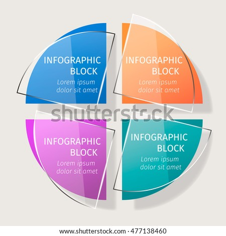 Vector infographic template with effect of transparent glass.