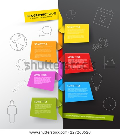 Vector Infographic timeline report template made from colorful papers on a black and white background - stock vector