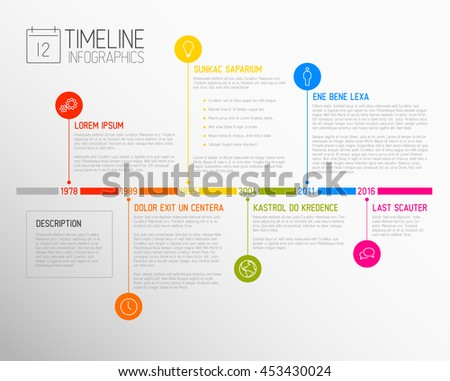 Vector Infographic timeline report template with the biggest milestones, icons, years and color buttons - stock vector