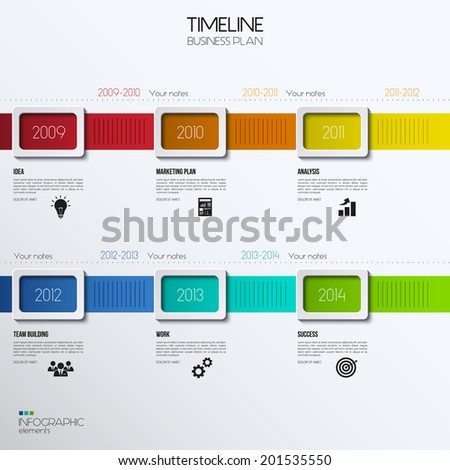 Vector Infographic Timeline Showing Business Plan Stock Vector - Business plan timeline template