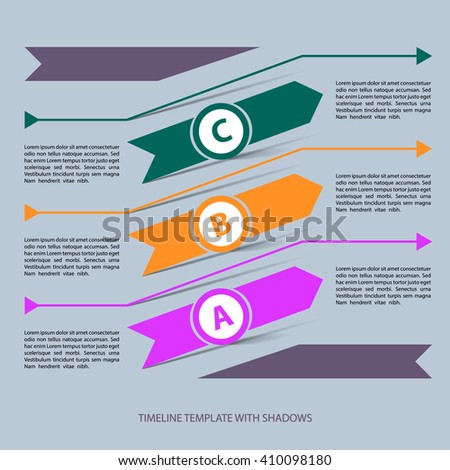 Vector infographic timeline template. Three arrows with shadows.