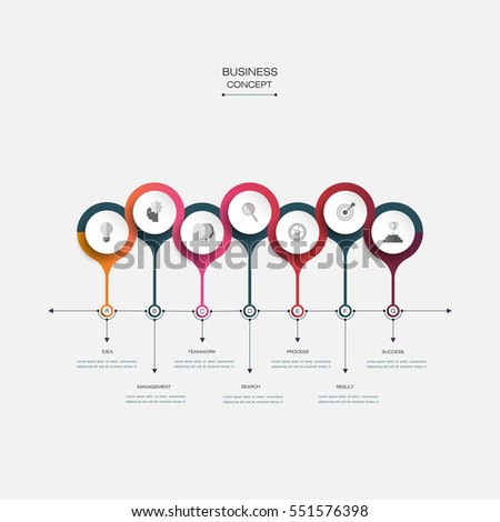 Vector infographic timeline template with 3D paper circles. Business concept with options. For content, diagram, flowchart, steps, parts, time line infographics, workflow layout, chart, process