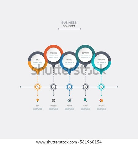 Vector infographic timeline template with 3D paper circles. Business concept with options. For content, diagram, flowchart, steps, parts, time line infographics, workflow layout, chart