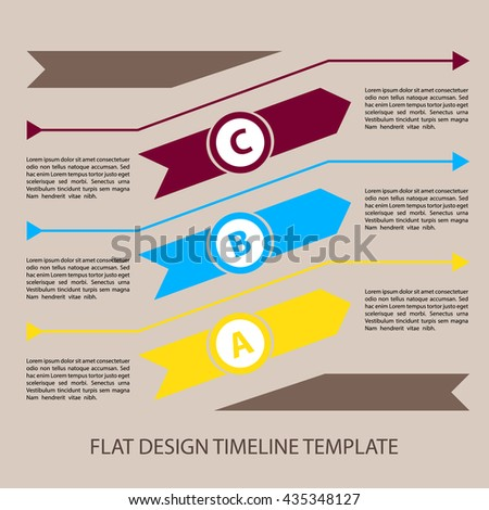Vector infographic timeline template with flat design. Three arrows in different colors.