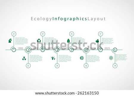 Vector infographic timeline with eco icons. - stock vector
