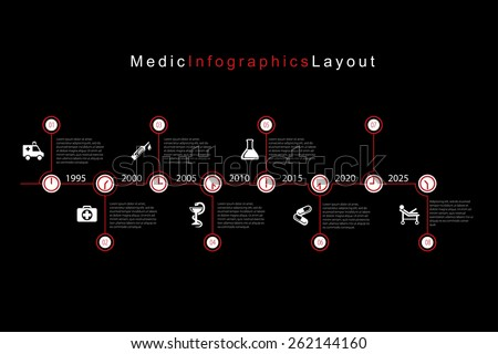 Vector infographic timeline with medic icons. - stock vector