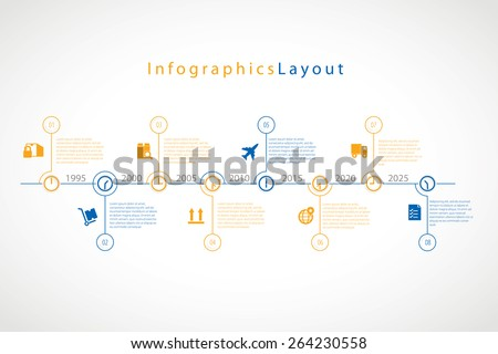 Vector infographic timeline with shipping and transportation icons. - stock vector