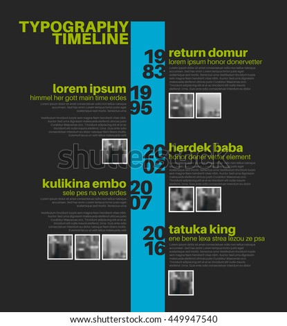 Vector Infographic typographic timeline report template with the biggest milestones, photos, years and description - dark blue and green template version - stock vector