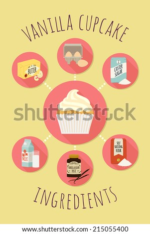 Vector infographic vanilla cupcake with creme frosting recipe template   Vanilla cup cake ingredients icons design   Fairy cake with creme icing ingredients signs with long shadow - stock vector