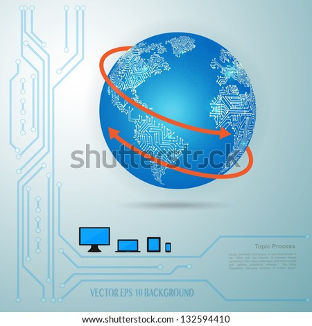 Vector - infographic with modern circuit world map and network connection - stock vector
