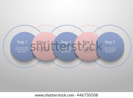 Vector infographic with pantone colors of the year 2016 Rose Quartz and Serenity. Template for diagram, graph, presentation and chart. Business concept with 5 options, parts, steps or processes.  - stock vector