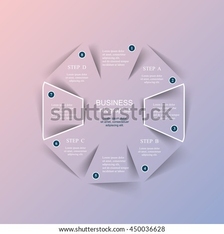 Vector infographic with pantone colors of the year 2016 Rose Quartz and Serenity. Template for diagram, graph, presentation and chart. Business concept with 8 options, parts, steps or processes.  - stock vector