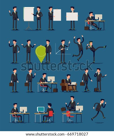 Vector infographics business spokesman character poses set featuring greeting with hand, shrugging, pointing finger, holding location pin, working in office, sitting in armchair, walking and more.