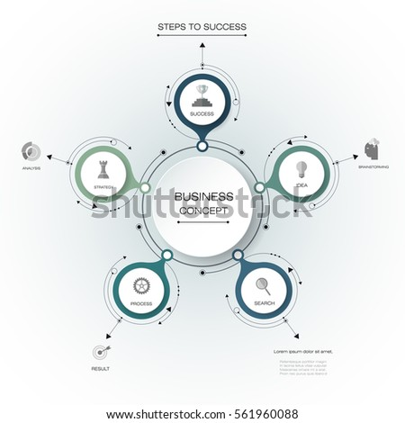 Vector infographics, 3D paper cycle diagram template, Blank space for data content, business, infographic, network, flowchart, process diagram, chart. Business concept with options or steps processes