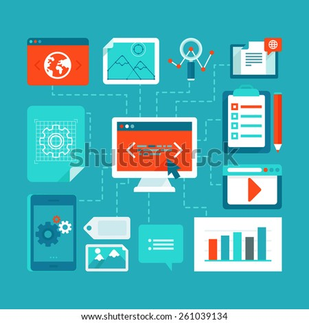 Vector infographics design elements in flat style - web development and coding - stock vector