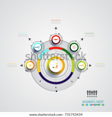 Modern infographics template paper concentric circles stock vector vector infographics design template integrated circles business concept with options blank space for pronofoot35fo Gallery