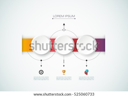 Vector infographics design template with 3D paper label, integrated circles background. Blank space for content, business, infographic, diagram, digital network, flowchart, process diagram, timeline