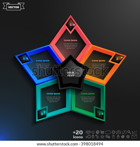 Vector infographics design with colorful rhombs on the black background. Business concept with 5 options, parts, steps. Can be used for graph, diagram, chart, workflow layout, number options, web. - stock vector