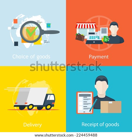 vector infographics step by step instructions to order goods online stores, the selection of goods invoice, payment of the purchase, collection and packaging of goods, delivery, receipt of the goods  - stock vector
