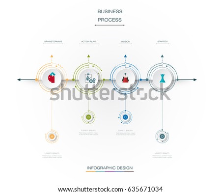 Vector infographics timeline design template with 3D paper label and 4options or steps, integrated circles background. For content business, infographic diagram,  flowchart, process diagram, time line