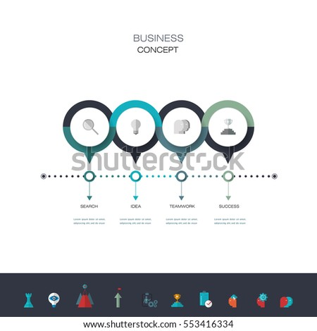 Vector infographics timeline design template with 3D paper label, integrated circles background. Blank space for content, business, infographic, diagram, network, flowchart, process diagram, time line