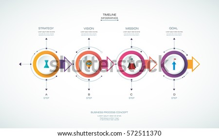 Vector infographics timeline design template with 3D paper label, integrated circles background. Blank space for content, business, infographic, diagram, flowchart, process, diagram, time line