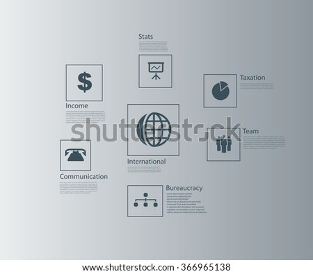 Vector infographics with business icons. - stock vector