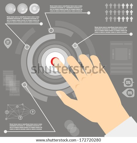 vector infographics with hand flat style - stock vector