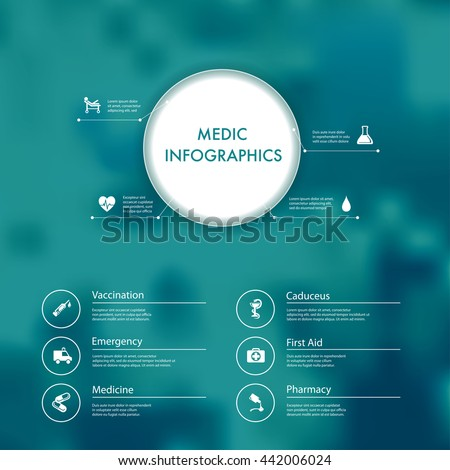 Vector infographics with medic and healthcare icons. - stock vector