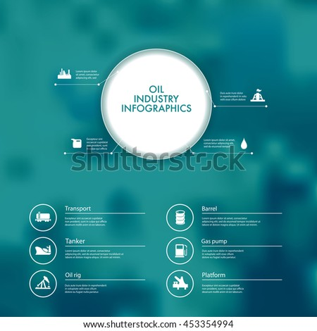 Vector infographics with oil industry icons. - stock vector