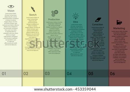 Vector infographics with production icons. - stock vector