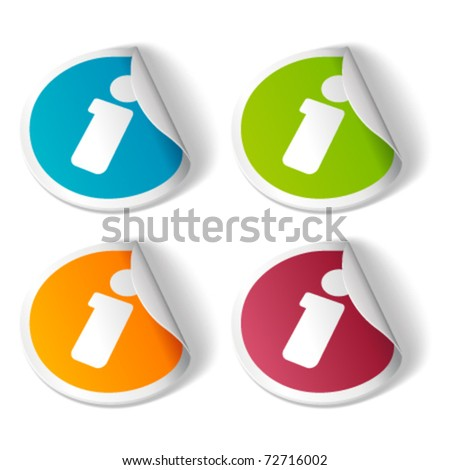 Vector information icon on sticker set. Transparent shadow easy replace background and edit colors. - stock vector