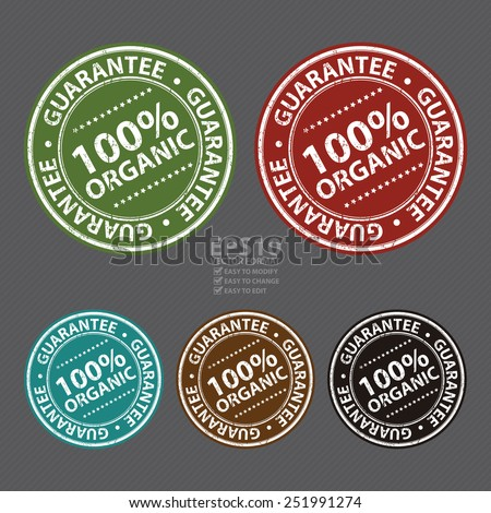 Vector : Information Material, Circle Brown 100% Organic Guarantee Sticker, Rubber Stamp, Icon, Tag or Label - stock vector