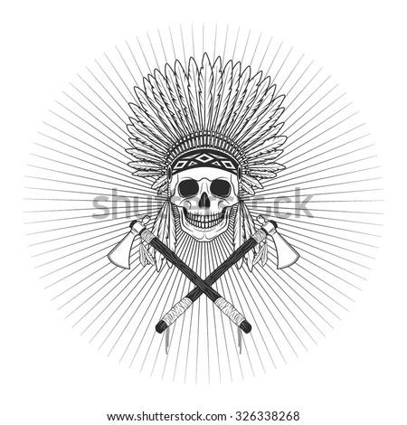 Vector injun skull logo - stock vector