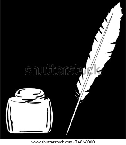 vector ink and feather - stock vector