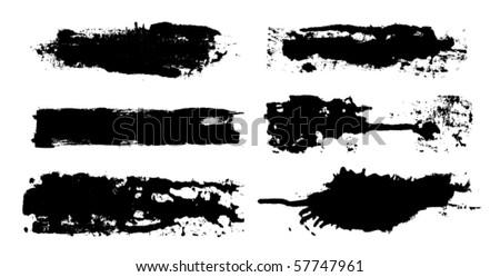 vector ink brush set - stock vector