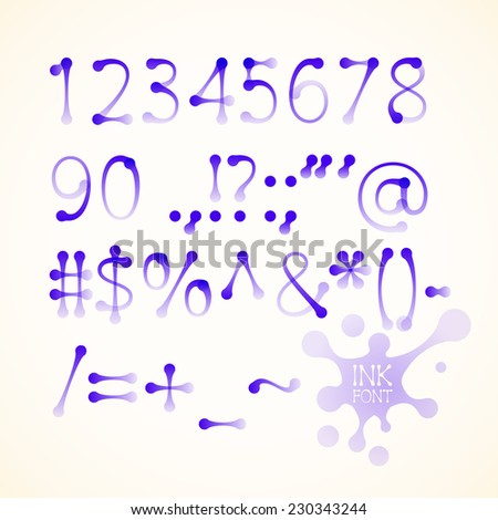 Vector ink drawn numbers and symbols. Eps10. Transparency used. RGB. Global colors. Gradients used - stock vector