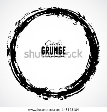 Vector ink grunge circle frame - stock vector