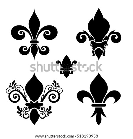 Vector Ink Set of Fleur-De-Lis. Beautiful Elements. Silhouette Heraldic Lily. Objects Isolated On White Background