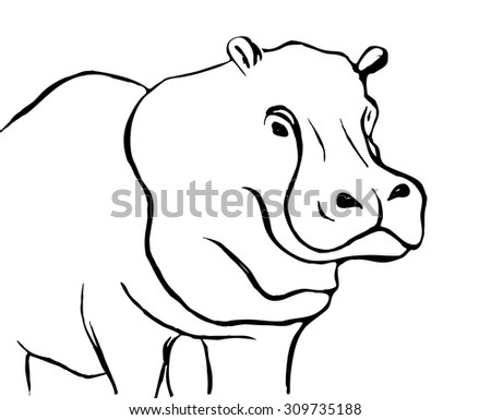Vector ink sketch of the hippo