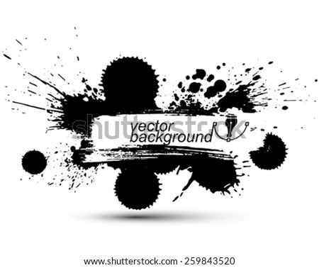 Vector ink splash monochrome seamless pattern with rounded overlap shapes, black and white graphic art repeat backdrop with overlap acrylic spots, scanned and traced. - stock vector